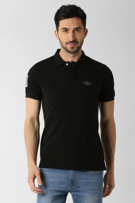 Peter England Solid Men Polo Neck Black T-Shirt
