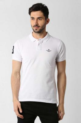 Peter England Solid Men Polo Neck White T-Shirt