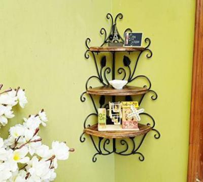 Onlineshoppee Wooden, Iron Wall Shelf  (Number of Shelves - 3, Brown)