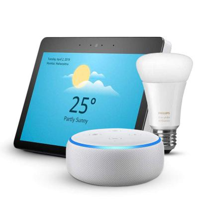 Echo Show bundle with Echo Dot and Philips Hue White Ambiance smart bulb