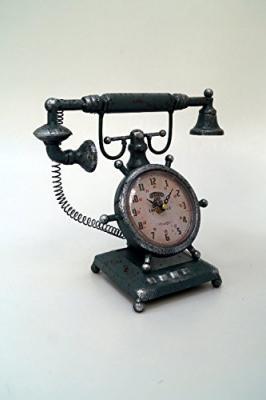 Tu Casa Vintage Telephone Clock Metal (27.99 cm x 13 cm x 27.99 cm, Green)