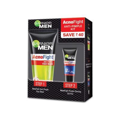 Garnier Men Acno Fight Anti-Pimple Kit (Acno Fight Facewash, 50gm + Acno Fight Clearing Gel, 10ml)