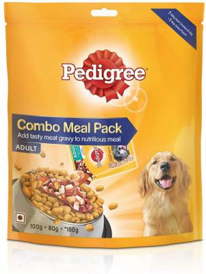 Pedigree Adult Dog Food Combo Meal, Dry and Gravy, 180g
