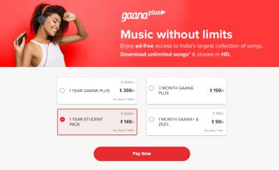 Gaana+1 Year Pack @149 with Student Pack