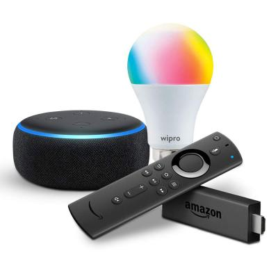 Echo Dot bundle with Fire TV Stick and Wipro 9W smart bulb