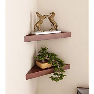 Home Sparkle Wooden Corner Wall Shelf, Set of 2 (Brown)