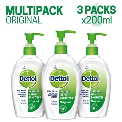 Dettol Germ Protection Instant Hand Sanitizer - 200 ml (Original, Pack of 3)