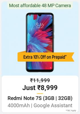 Mobiles{ Rs.1000 Off Prepaid+ 10% Off Bank Offer's }