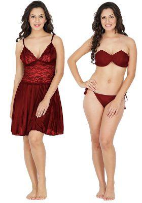 Klamotten Satin Women Nightwear and Bikini Set