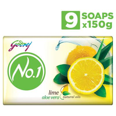 Godrej No.1 Bathing Soap – Lime & Aloe Vera, 150g (Pack of 9)