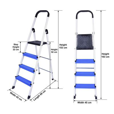 Primax High Grade Heavy Aluminum Folding 4 Step Ladder (White and Blue)