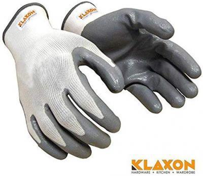 Klaxon Nylon Safety Hand Gloves (White and Grey, Pair of 1)