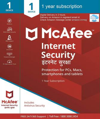 McAfee Internet Security (Windows / Mac / Android / iOS) - 1 User, 1 Year