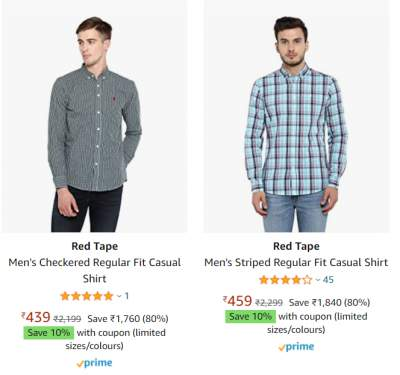 Red Tape Shirts at Min. 80% off