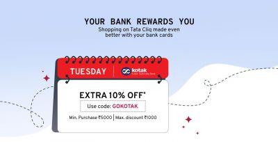 Tatacliq Kotak Offer: 10% Off on Debit/Credit Card