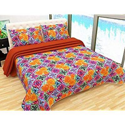 Bombay Dyeing Felix 136 TC Microfibre Double Bedsheet with 2 Pillow Covers - Orange