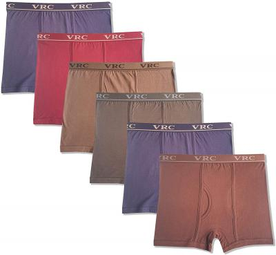 VRC Men's Cotton Solid Trunk Boxer Underwear 6 Pack