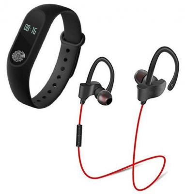 GO MANTRA m2 Smart Fitness Tracker Band with QC10 Jogger Bluetooth Headset & Stereo Sound Support for All Android Phone