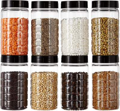 Buy Amazon Brand - Solimo Spice Jar, 200 ml, Set of 8, Black