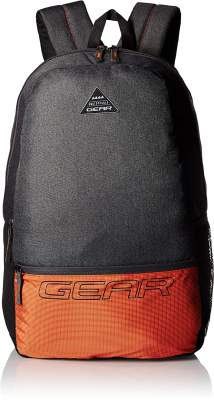 Gear 24 Ltrs Grey and Orange Casual Backpack