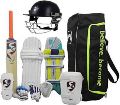 SG Multicolor Economy Cricket With Helmet Cricket Kit  (Bat Size: 4 (Age Group 9 - 11 Years))