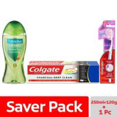 Colgate Palmolive Aroma Therapy Morning Tonic Shower Gel - 250 ml with Colgate Total Charcoal Deep Clean Toothpaste - 1