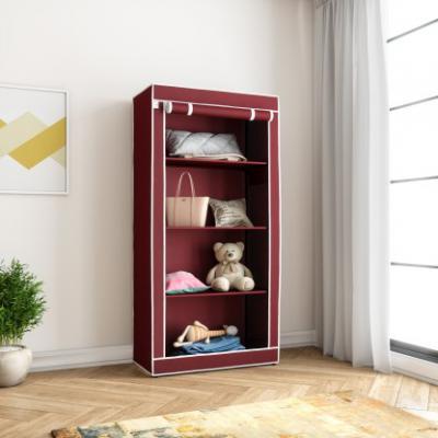 Flipkart SmartBuy Single Door 4 Shelf PP (Polypropylene) Collapsible Wardrobe  (Finish Color - Maroon)