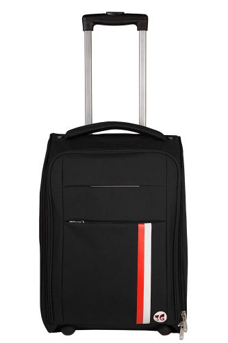 3G Polyester 20 Inch /55 cm Soft Sided Luggage Trolley Cabin Size Suitcase Black Color