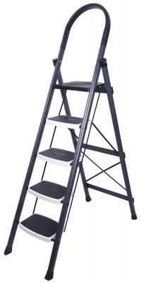 Primax High Grade Heavy Steel Folding 5 Step Ladder (Grey and White)