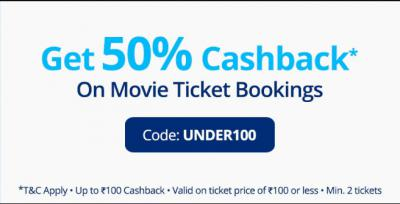 50% cashback up to Rs.100 on Movies