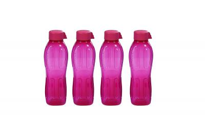 Signoraware Aqua Fresh Plastic Water Bottle, 500ml, Set of 4, Magenta