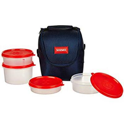 Amazon Brand - Solimo Plastic Lunch Box with Bag, Set of 4, Blue