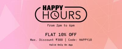 Tatacliq happy Hours: Flat 10% Off Sitewide on APP