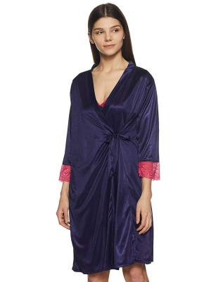 Clovia Women's 2 Pcs Satin Nightwear Set in Navy & Pink - Short Robe & Nightie