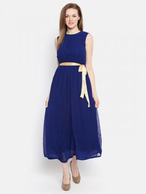 Ishin Women Navy Blue Solid Empire Dress