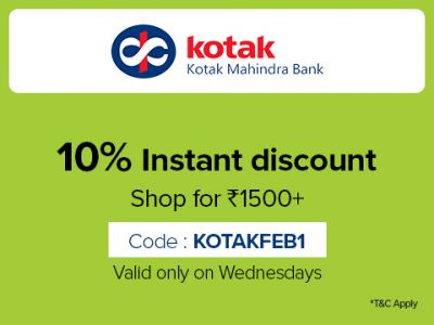 10% Discount on a minimum purchase of Rs.1500 on Kotak Cards