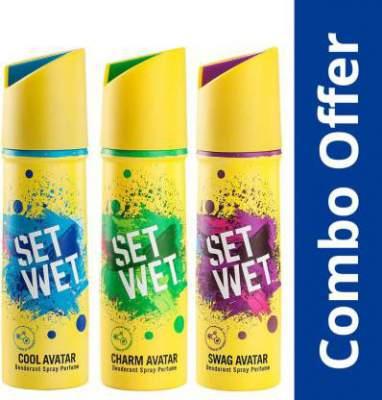 [Flipkart Plus] Set Wet Cool, Charm and Swag Avatar Deodorant Spray - For Men (450 ml, Pack of 3)