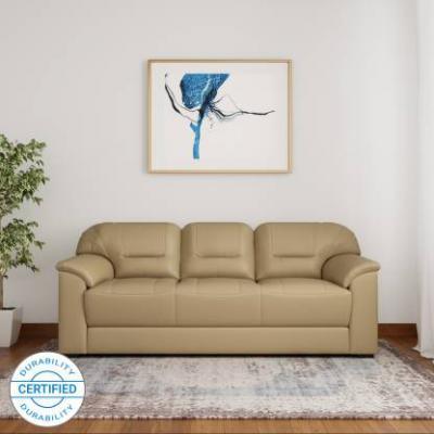 Muebles Casa Croma Leatherette 3 Seater Sofa  (Finish Color - Beige)
