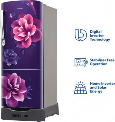 Samsung 192 L Direct Cool Single Door 4 Star Refrigerator with Base Drawer  (Camellia Purple, RR20R182YCR/HL)