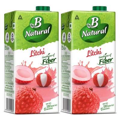 B Natural Litchi Juice 1L, (Pack of 2)