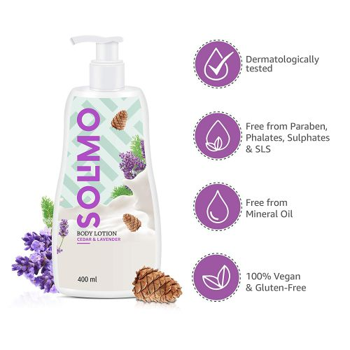 Amazon Brand - Solimo Cedar & Lavender Body Lotion, No Paraben, Sulphates, Phthlates, Mineral Oil, 100% Vegan, 400 ml