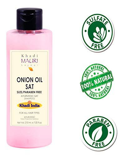 Khadi Mauri Herbal Onion Oil Shampoo - Thickens & Strengthens Hair - SLES & PARABEN FREE - Enriched with Amla & Keratin - 210 ml