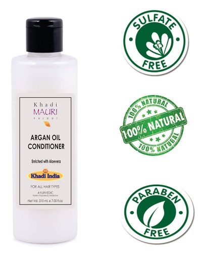 Khadi Mauri Herbal Argan Hair Conditioner - SLES & PARABEN FREE - 210 ml - Powerful Hair Nourisher & Stimulated Hair Growth - Enriched with Amla & Aloe Vera