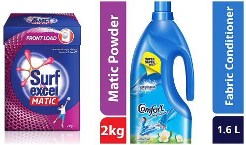 Surf Excel Matic Front Load Detergent Powder, 2 kg & After Wash Morning Fresh Fabric Conditioner, 1.6 L Combo
