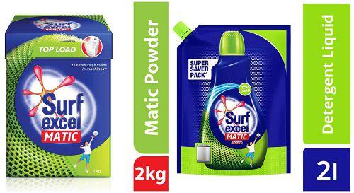 Surf Excel Matic Top Load Detergent Powder, 2 kg & Top Load Matic Liquid Detergent Pouch - 2 L Combo