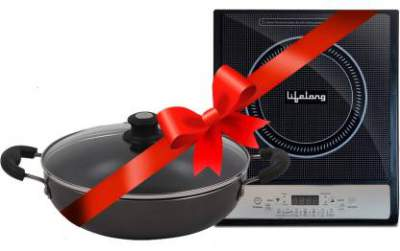 Lifelong LLCMB10 1400 W Induction Cooktop with IB 240 mm Non-Stick Kadhai