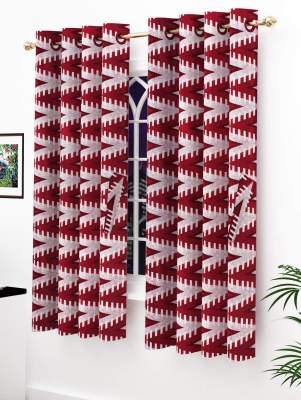 Story@Home Modern Polyester Abstract Pattern Eyelet 2 Piece Printed Ringtop Window Curtain Set