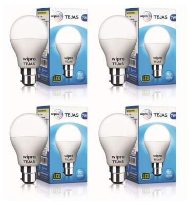 Wipro Tejas Base B22 7-Watt LED Bulb (Pack of 4, Cool Day Light)