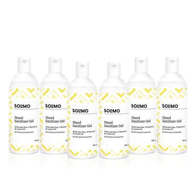 Amazon Brand - Solimo Hand Sanitizer Gel with Aloe vera, Vit E & Lemon Oil - 100 ml - Pack of 6