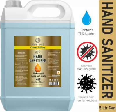 [Pre-Book] Khadi Soul 75% Alcohol Based Instant Kills 99.99% Of Germs Hand Sanitizer Can  5 Ltrs